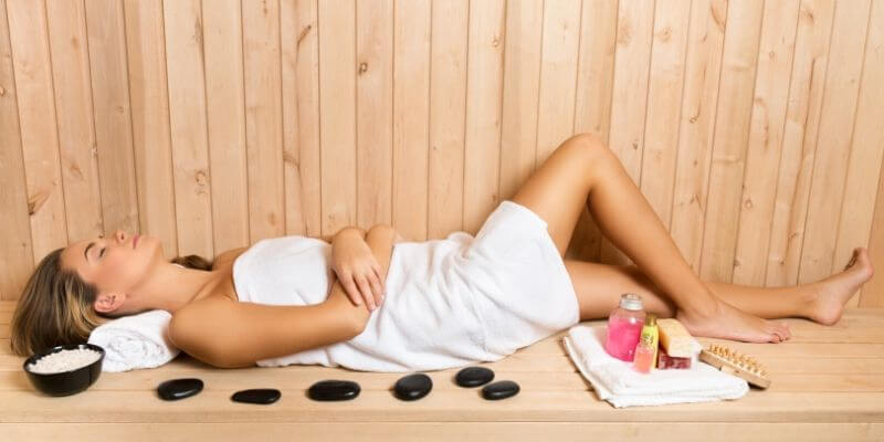 sauna woman relaxed